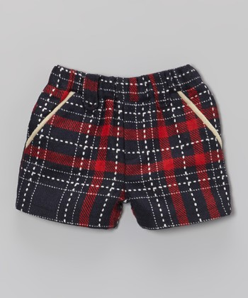 Red Plaid Wool-Blend Shorts - Toddler & Girls