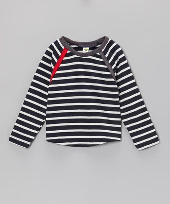 Navy Stripe Raglan Top - Boys