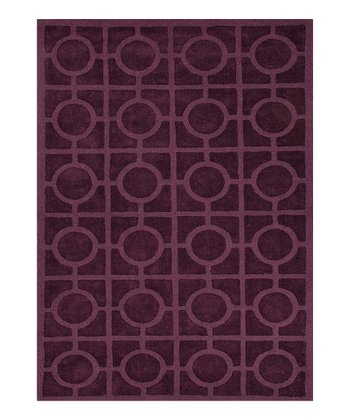 Purple Circles Wool Rug
