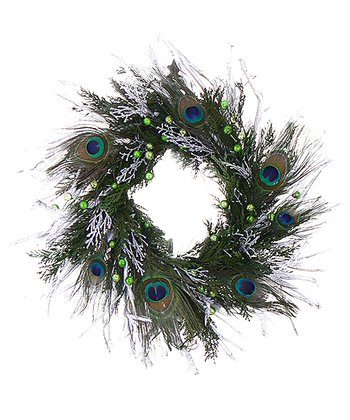 18'' Platinum Peacock Wreath