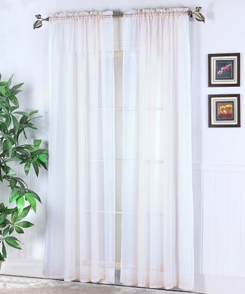 White Abby Voile Curtain Panel - Set of Two