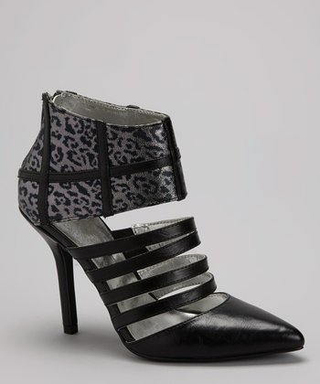 Black & Gray Leopard Pump