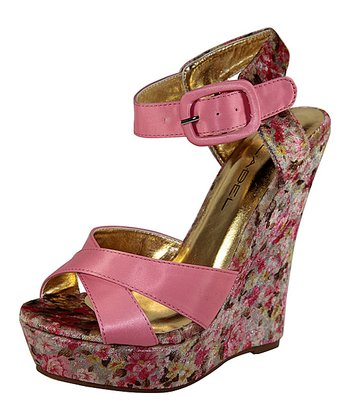 Pink Floral Nancy Wedge
