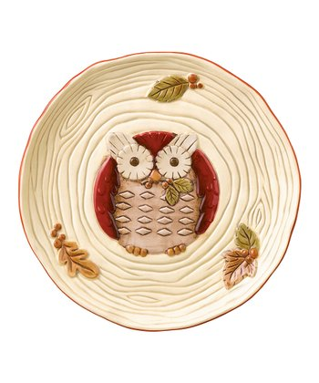 Red Owl Ceramic Plate