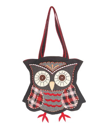 Black Owl Wool Tote Bag