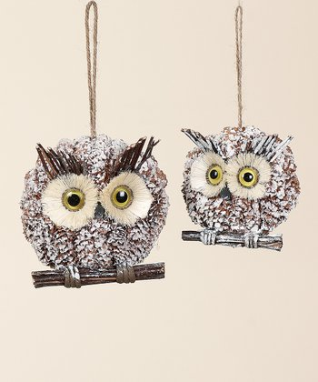 Pinecone Owl Ornament Set