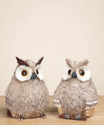Sitting Sparkle Owl Figurine Set
