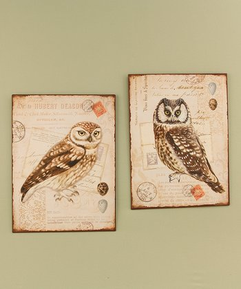 Owl Tin Wall Art Set