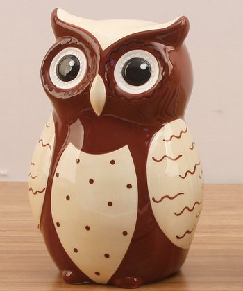 Brown & White Owl Ceramic Bank