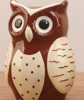 Brown & White Owl Ceramic Vase
