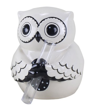 White & Black Owl Ceramic Vase