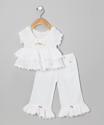 White Rosette Top & Ruffle Pants