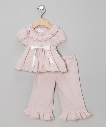 Lavender Gauze Ruffle Top & Pants - Infant
