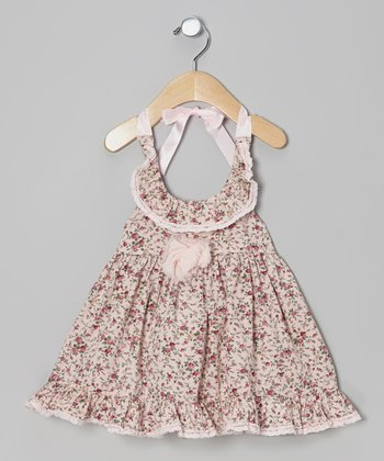 Pink Floral Ruffle Halter Dress