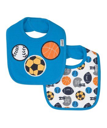 Blue Sports Bib Set