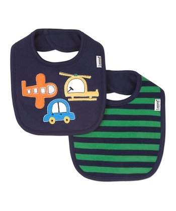 Black Stripe & Transportation Bib Set