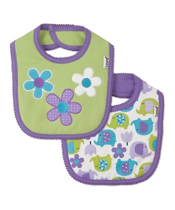 Purple & Green Elephant Flower Bib Set
