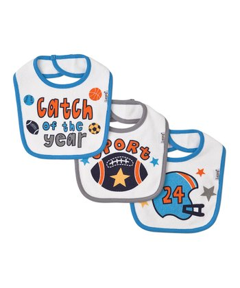 Blue & Gray 'Catch of the Year' Bib Set