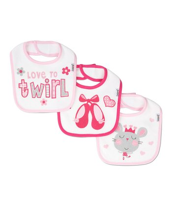 Pink 'Love to Twirl' Bib Set