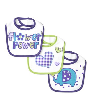 Purple & Green 'Flower Power' Bib Set