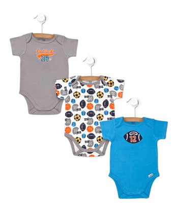 Blue & Gray Sports Bodysuits Set