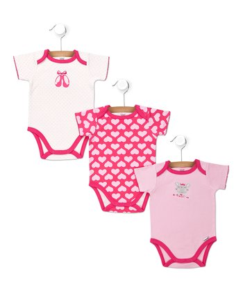 Pink Twirling Heart Bodysuits Set