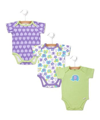 Purple & Green Elephant Flower Bodysuits Set