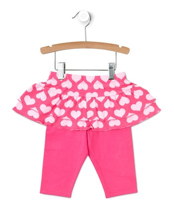 Pink Heart Ruffle Skirted Leggings