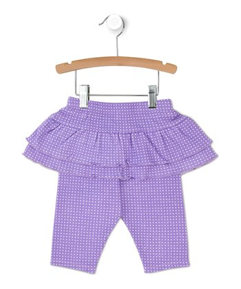 Purple Polka Dot Ruffle Skirted Leggings
