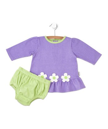 Purple Plaid Flower Dress & Diaper Cover