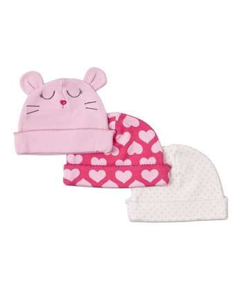 Pink & White Heart Mouse Beanie Set
