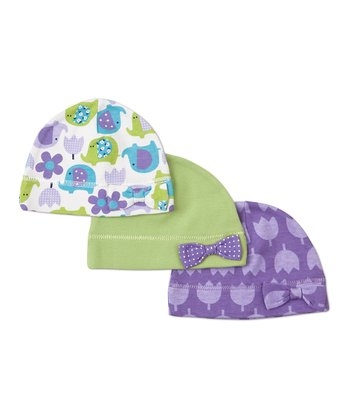 Purple & Green Elephant Flower Beanie Set