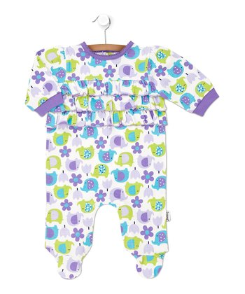 Purple & Green Elephant Flower Ruffle Footie