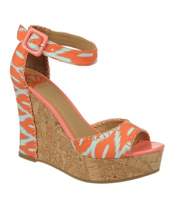 Coral & White Quiztime Wedge Sandal
