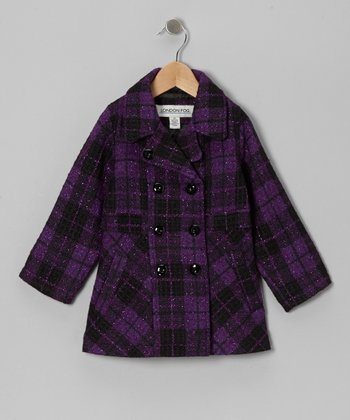 Purple Plaid Peacoat - Infant & Toddler