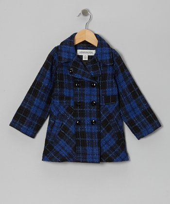 Royal Blue Plaid Peacoat - Infant, Toddler & Girls