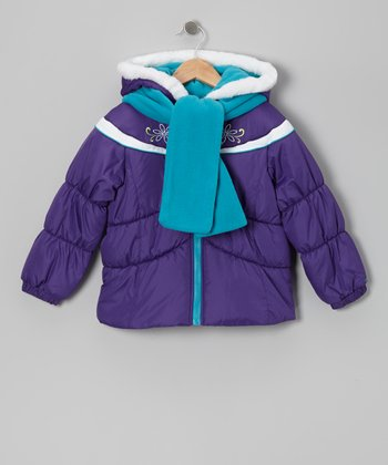 Purple Stripe Puffer Coat & Turquoise Scarf - Toddler & Girls