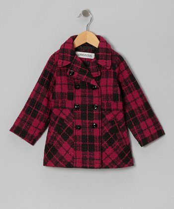 Fuchsia Plaid Peacoat - Toddler