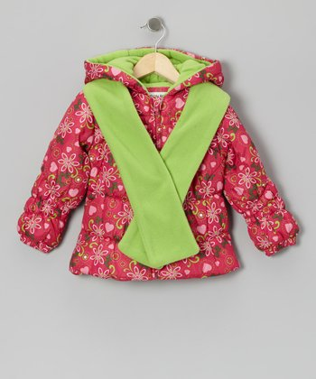 Pink Floral Puffer Coat & Lime Scarf - Toddler