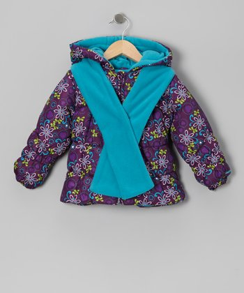 Purple Floral Puffer Coat & Turquoise Scarf - Toddler