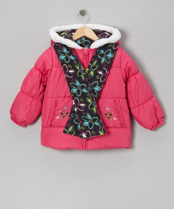 Pink Flower Puffer Coat & Brown Scarf - Girls