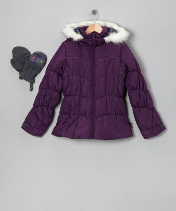 Grape Faux Fur Puffer Coat & Mittens - Girls
