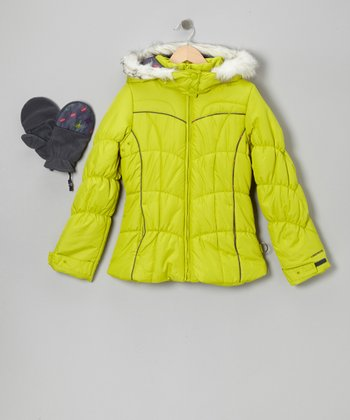 Green Faux Fur Puffer Coat & Mittens - Girls