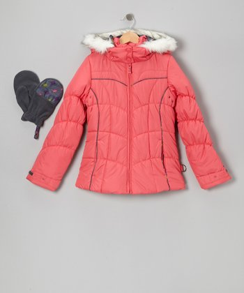 Orange Faux Fur Puffer Coat & Mittens - Girls