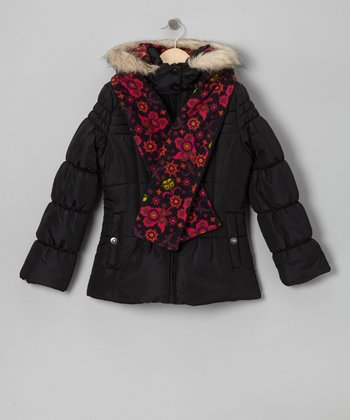 Black Faux Fur Puffer Coat & Floral Scarf - Girls