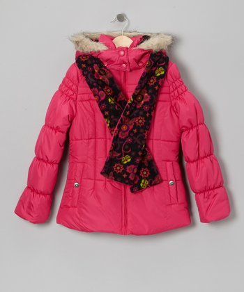Fuchsia Faux Fur Puffer Coat & Floral Scarf - Girls