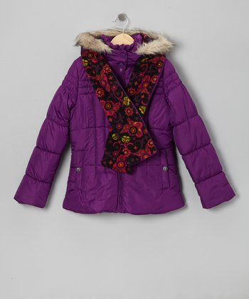 Grape Faux Fur Puffer Coat & Floral Scarf - Girls