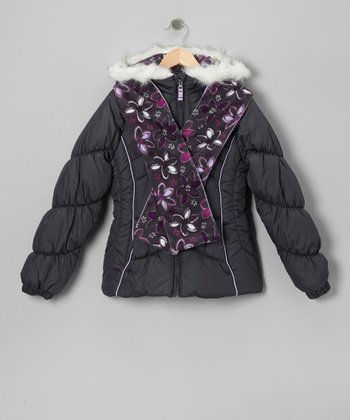 Gray Faux Fur Puffer Coat & Floral Scarf - Girls