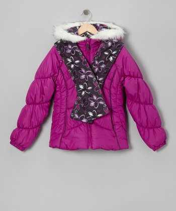 Orchid Faux Fur Puffer Coat & Floral Scarf - Girls