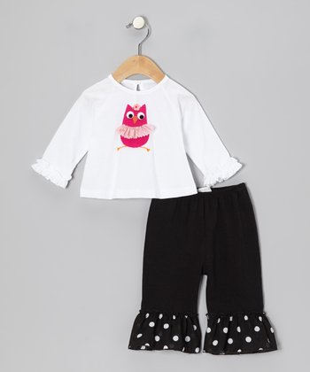 White Owl Tee & Black Ruffle Pants - Infant & Toddler